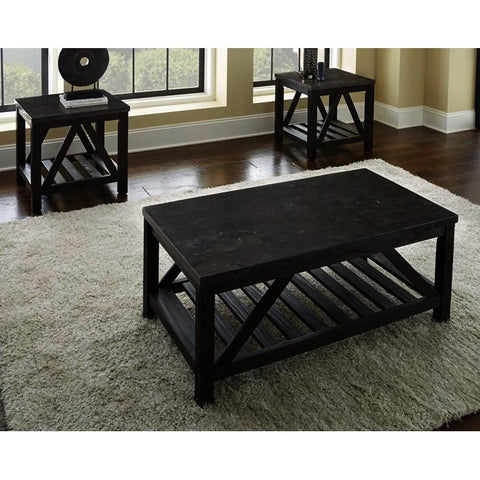 Steve Silver Novica 3 Piece Bluestone Top Coffee Table Set in Charcoal Gray