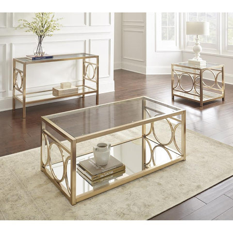 Steve Silver Olympia 3 Piece Glass Top Coffee Table Set w/Gold Chrome Base
