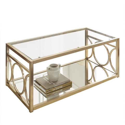 Steve Silver Olympia Glass Top Cocktail Table w/Gold Chrome Base