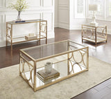 Steve Silver Olympia Glass Top End Table w/Gold Chrome Base
