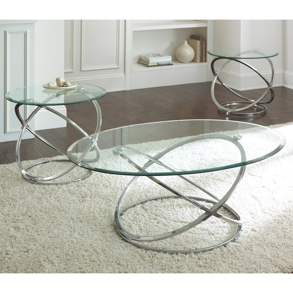 3 Piece Glass Top Coffee Table Sets.Steve Silver Orion 3 Piece Glass Top Coffee Table Set W Chrome Base