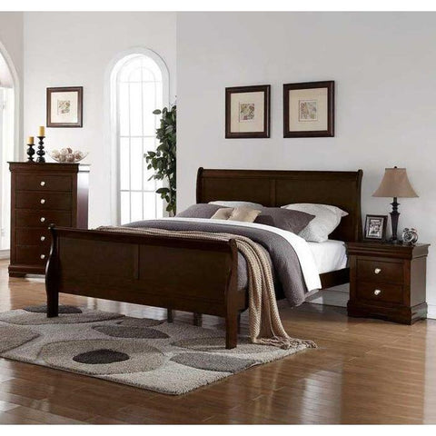 Steve Silver Orleans 3 Piece Sleigh Bedroom Set in Cherry