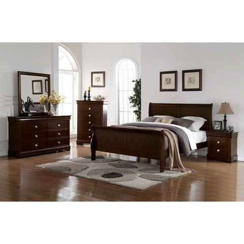 Steve Silver Orleans 4 Piece Sleigh Bedroom Set in Cherry
