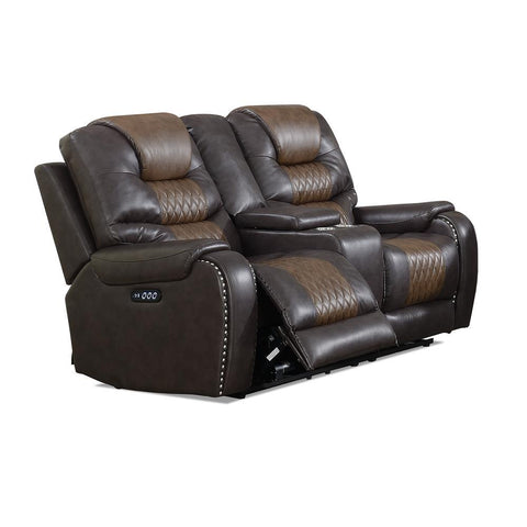 Steve Silver Park Avenue Power Reclining Loveseat with Console In Brown