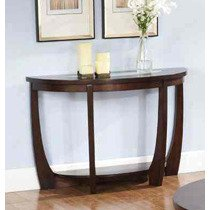 Steve Silver Rafael Half Moon Glass Insert Sofa Table in Cherry