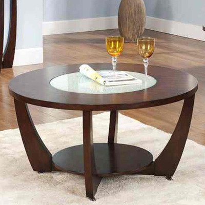 Steve Silver Rafael Round Glass Insert Cocktail Table In Cherry