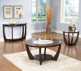 Steve Silver Rafael Round Glass Insert End Table in Cherry