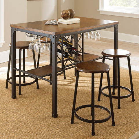 Steve Silver Rebecca 5 Piece Counter Height Table Set in Weathered Catalpa