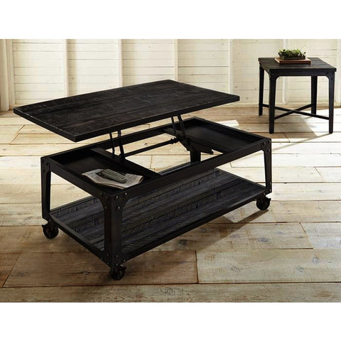 Steve Silver Sherlock 2 Piece Lift Top Coffee Table Set w/Casters in Rustic Distressed Tobacco