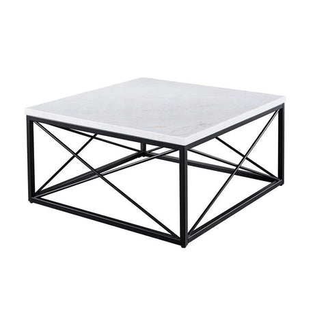 Steve Silver Skyler White Marble Top Square Cocktail Table