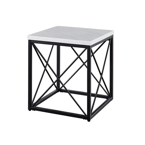 Steve Silver Skyler White Marble Top Square End Table