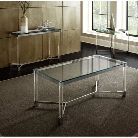 Steve Silver Talia 3 Piece Glass Coffee Table Set in Chrome & Acrylic