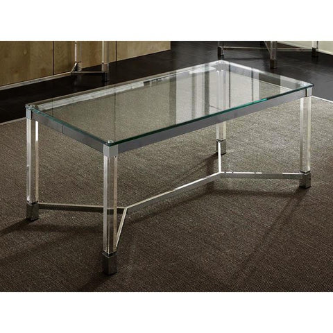 Steve Silver Talia Glass Cocktail Table in Chrome & Acrylic