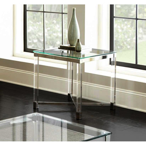 Steve Silver Talia Glass End Table in Chrome & Acrylic