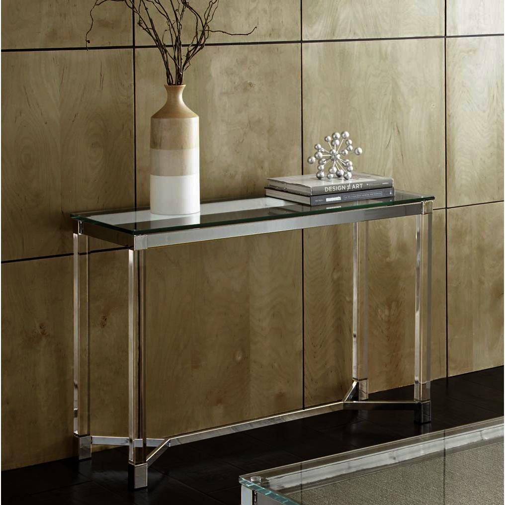 Steve Silver Talia Glass Sofa Table In Chrome Acrylic Beyond Stores