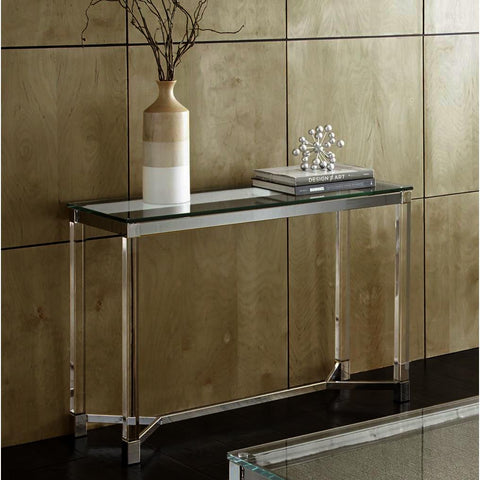 Steve Silver Talia Glass Sofa Table in Chrome & Acrylic