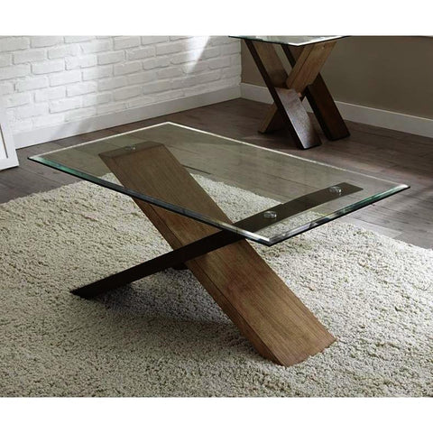 Steve Silver Tasha 3 Piece Glass Top Coffee Table Set In