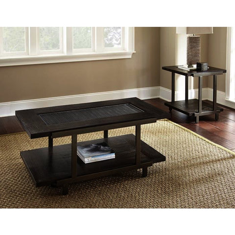 Steve Silver Terrell 2 Piece Coffee Table Set w/Casters in Smoky Brown