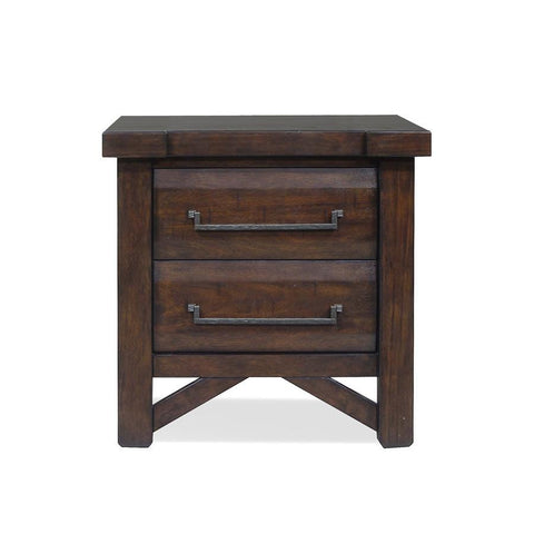 Steve Silver Timber 2 Drawer Nightstand w/USB Port in Distressed Chestnut