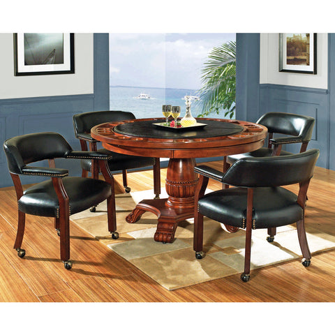 Steve Silver Tournament 5 Piece Game Table Set in Brown