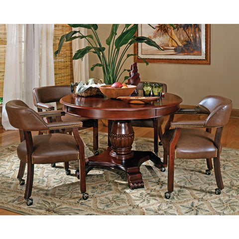 Steve Silver Tournament 5 Piece Game Table Set in Cherry