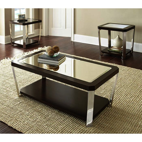 Steve Silver Truman 3 Piece Coffee Table Set w/Casters in Espresso