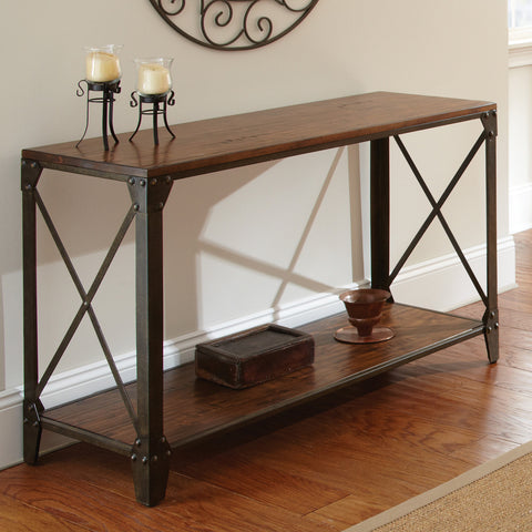 Steve Silver Winston Sofa Table in Distressed Tobacco