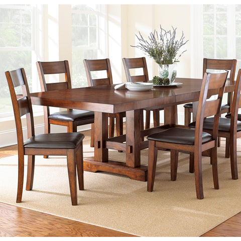 Steve Silver Zappa 7 Piece Dining Room Set in Medium Cherry