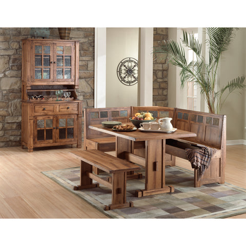 Sunny Designs 0219RO Sedona Breakfast Nook Set with Side Bench In Rustic Oak