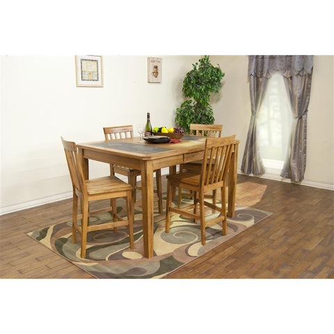 Sunny Designs 1274RO Sedona Extension Table with Slate Top In Rustic Oak