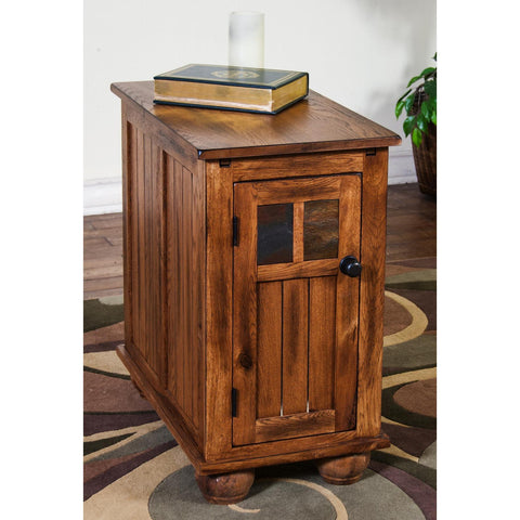 Sunny Designs 2158RO Sedona Chair Side Table In Rustic Oak