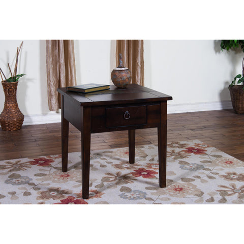 Sunny Designs 3176DC-E Santa Fe End Table In Dark Chocolate