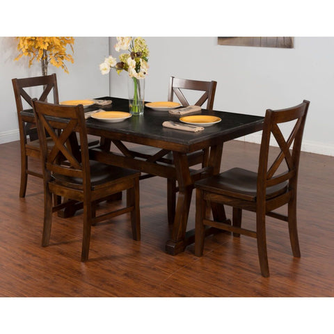 Sunny Designs Blue Moon Table with Bluestone Top In Dark Chocolate