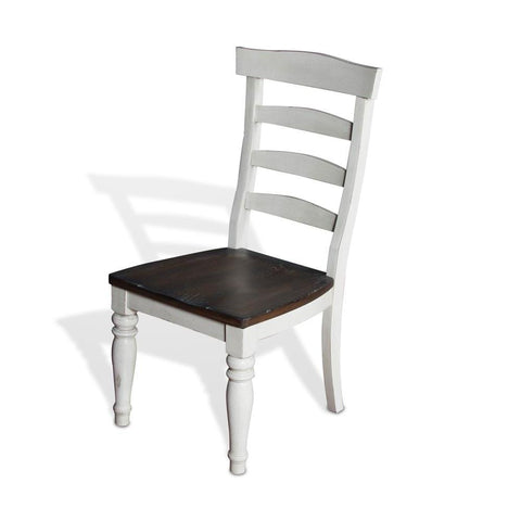 Sunny Designs Bourbon County Ladderback Chair w/Wood Seat in French Country