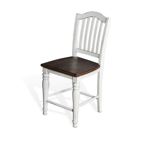 Sunny Designs Bourbon County Slatback Stool w/Wood Seat in French Country