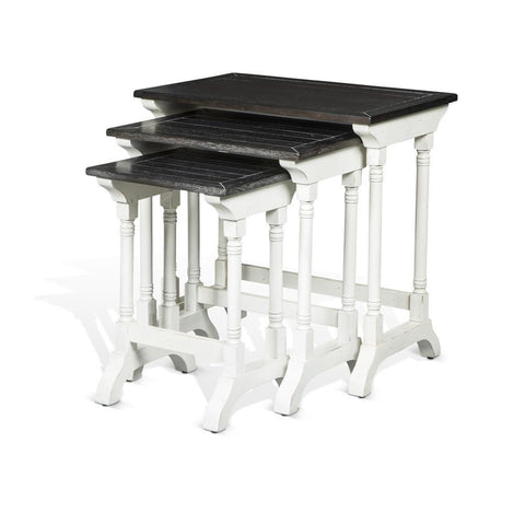 Sunny Designs Carriage House 3-Piece Nesting Table Set in European Cottage