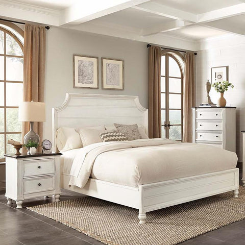 Sunny Designs Carriage House 3 Piece Platform Bedroom Set in Creme