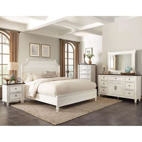 Sunny Designs Carriage House 4 Piece Platform Bedroom Set in Creme