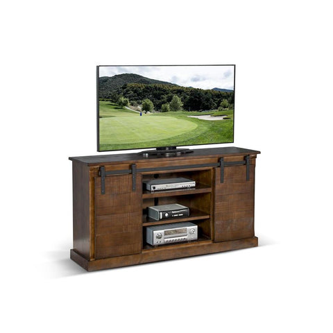 Sunny Designs Dark Chocolate Barn Door TV Console
