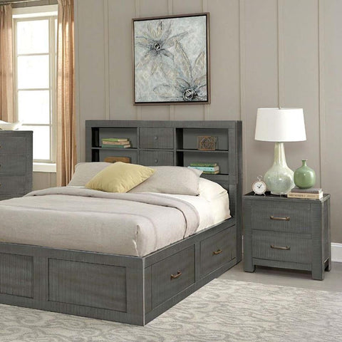Sunny Designs Ranch House 2 Piece Full Captains Bookcase Storage Bedroom Set in Little Boy Blue