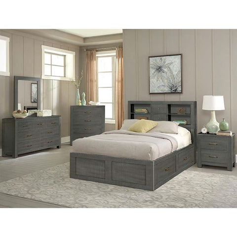 Sunny Designs Ranch House 4 Piece Full Captains Bookcase Storage Bedroom Set in Little Boy Blue