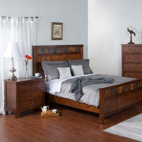 Sunny Designs Santa Fe 2 Piece Petite Panel Bed in Dark Chocolate
