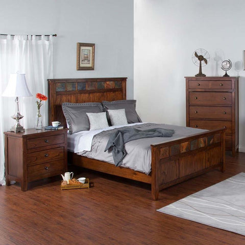 Sunny Designs Santa Fe 3 Piece Petite Panel Bed in Dark Chocolate