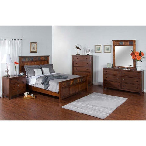 Sunny Designs Santa Fe 4 Piece Petite Panel Bed in Dark Chocolate