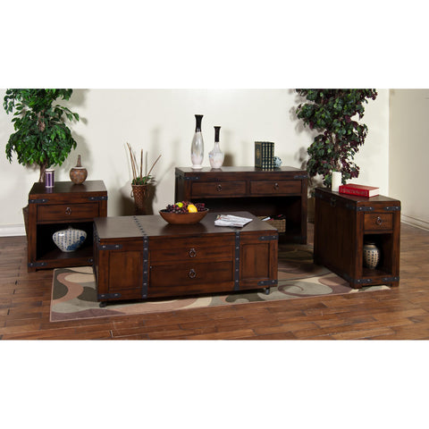 Sunny Designs Santa Fe Collection Four Living Room Table Set In Dark Chocolate