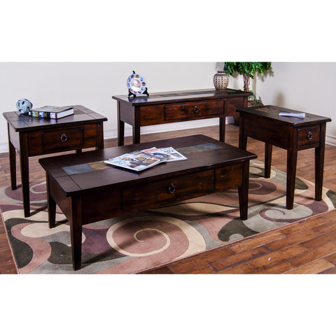 Sunny Designs Santa Fe Collection Four Piece Living Room Table In Dark Chocolate