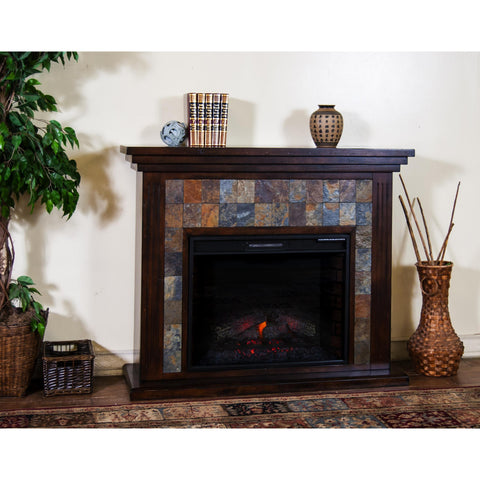 "Sunny Designs Santa Fe Fireplace Media Console(28""FB) In Dark Chocolate"
