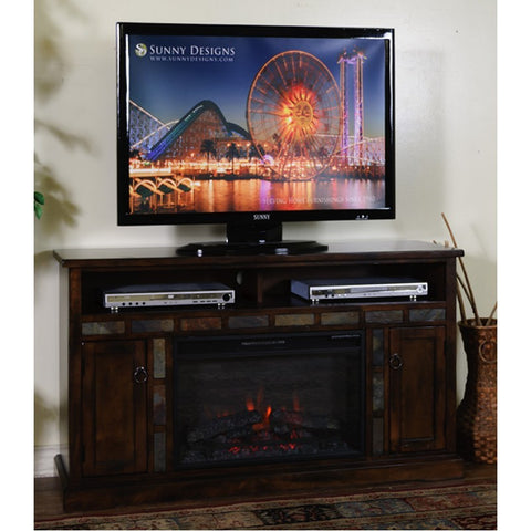 Sunny Designs Santa Fe Fireplace TV Console In Dark Chocolate