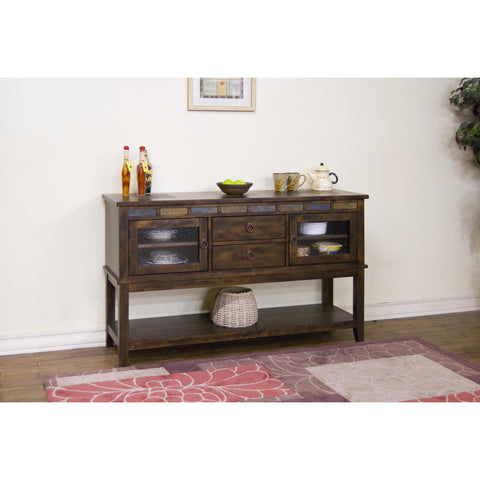 Sunny Designs Santa Fe Server with 2 Drawers In Dark Chocolate