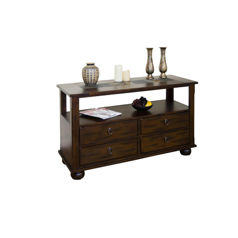 Sunny Designs Santa Fe Sofa Console Table with Drawers In Dark Chocolate